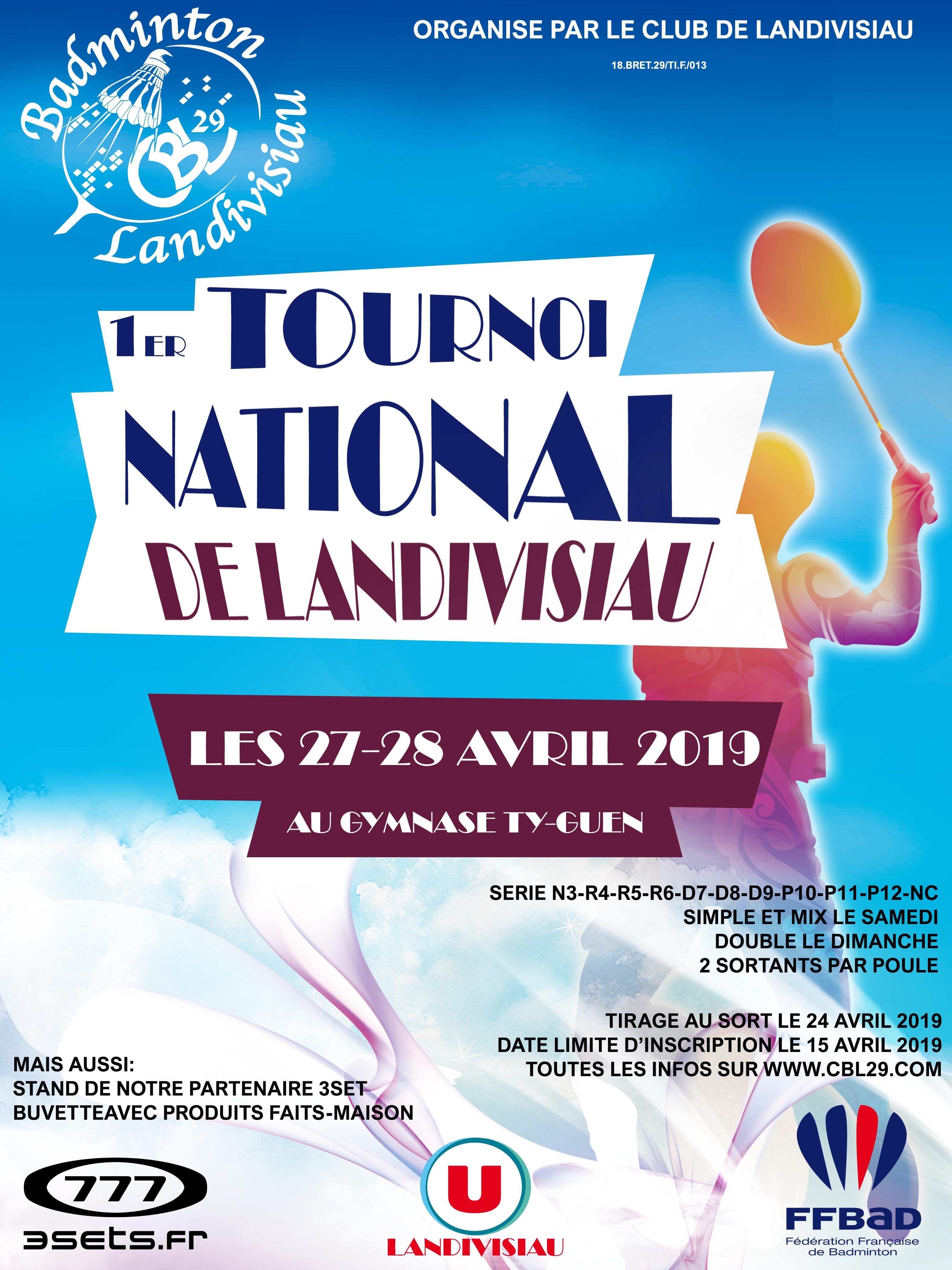 1er Tournoi National  les 27-28 avril 2019